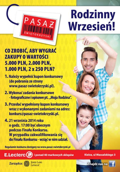 Konkurs Rodzinny wPasażu Świętokrzyskim